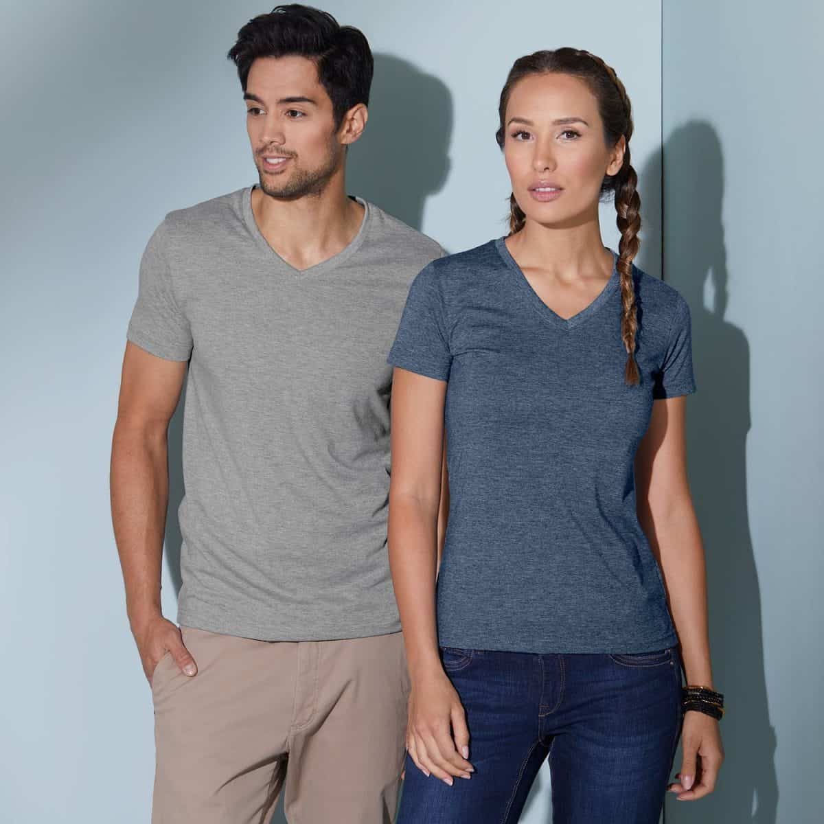 Daiber T Shirts JN974 Greyheather Bluemelange Model