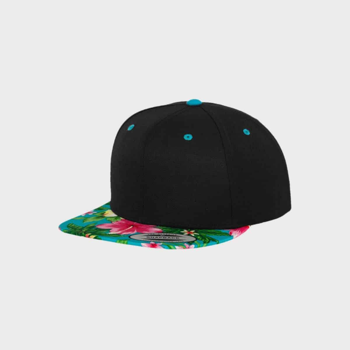 Flexfit Snapback FFE 6089HW Black Aqua Front Side