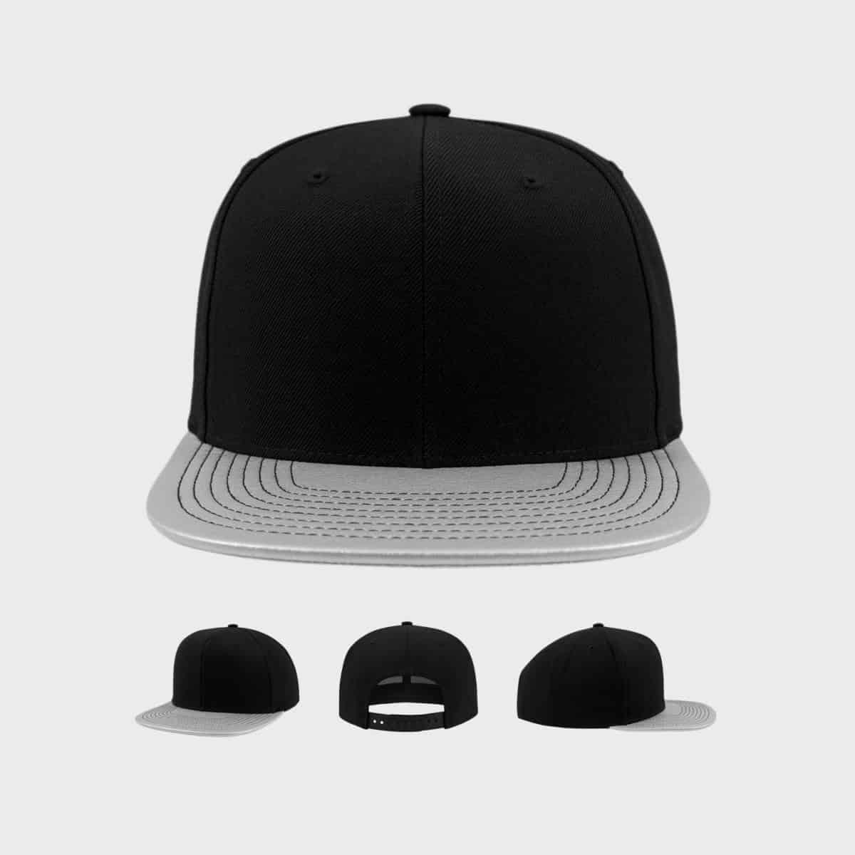 Flexfit Snapback FFE 6089PU Black Silver Front Extra