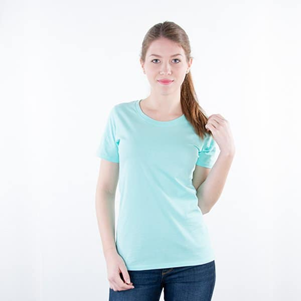 JAMES & NICHOLSON Damen Round T-Shirt Model front