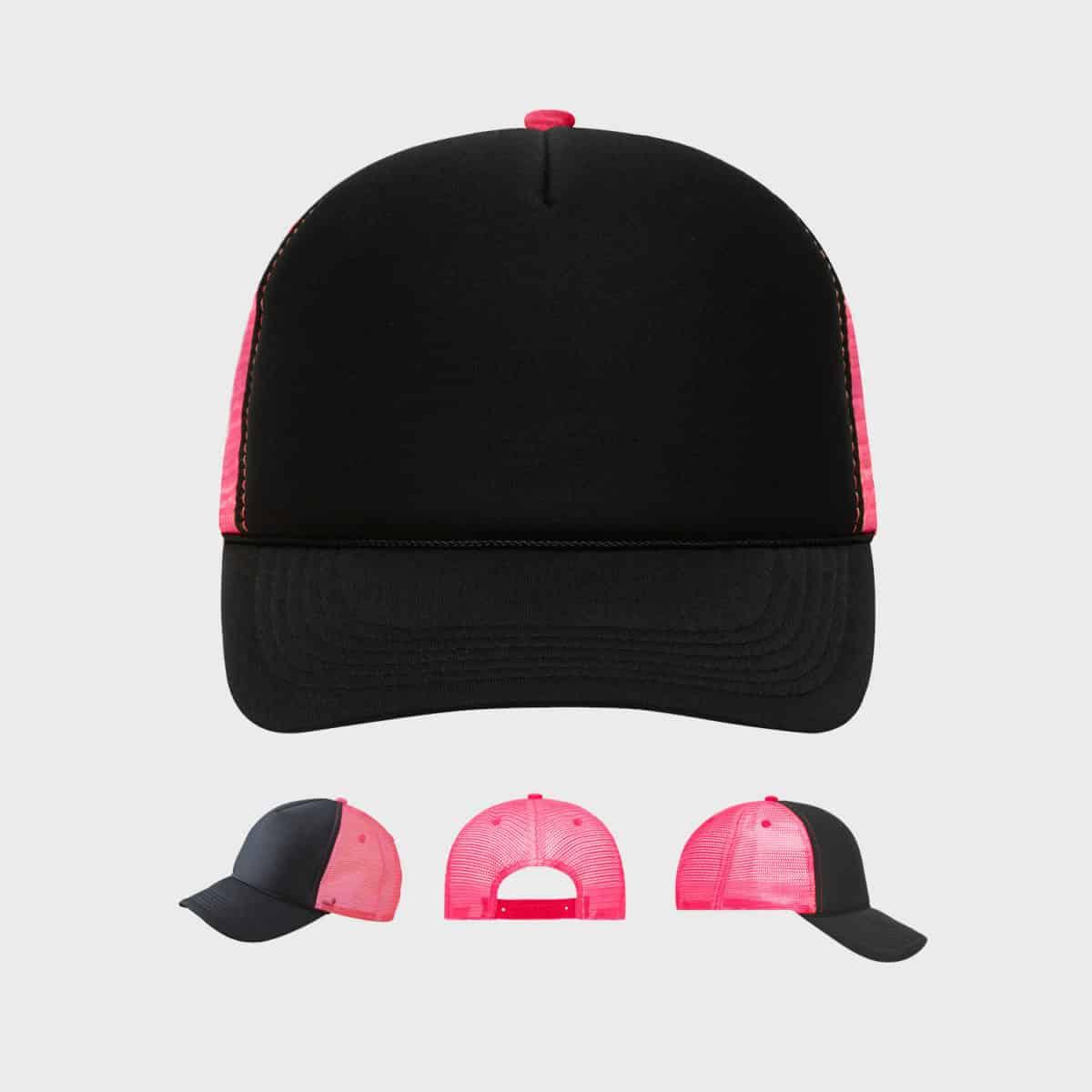 5-panel-retro-mesh-beach-cap-black-neon-pink-kaufen-besticken_stickmanufaktur