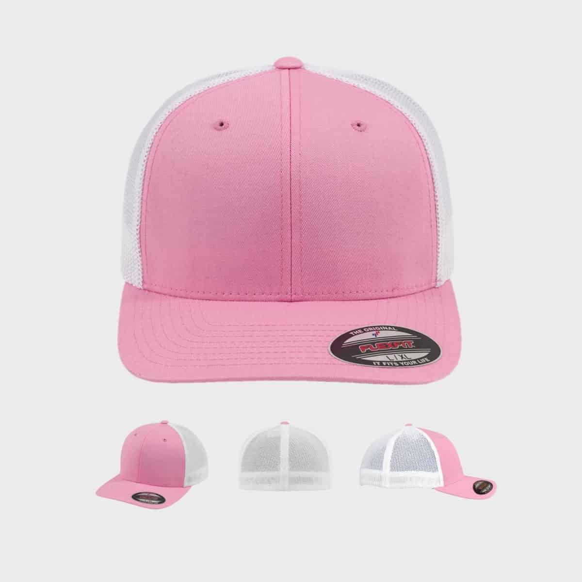Flexfit TruckerCaps FFE 6511T Pink White Front Extra